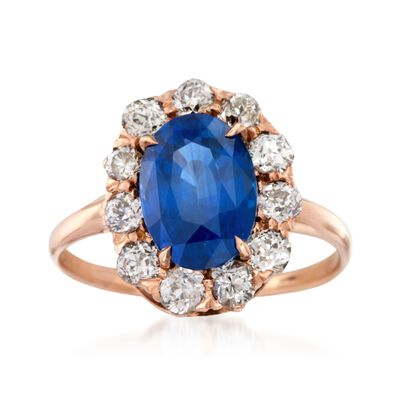 C. 1900 Vintage 3.38 Carat Sapphire and .90 ct. t.w. Diamond Ring in 14kt Rose Gold, , default
