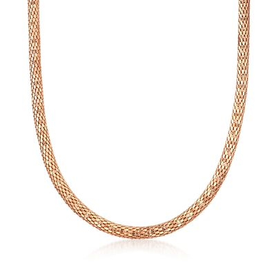C. 2000 Vintage 18kt Rose Gold Mesh Tube Necklace, , default
