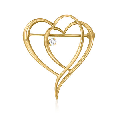 C. 1980 Vintage 14kt Yellow Gold Double-Heart Pin with Diamond Accent