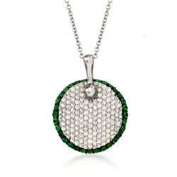 Simon G. .65 ct. t.w. Diamond and .48 ct. t.w. Tsavorite Pendant Necklace in 18kt White Gold, , default