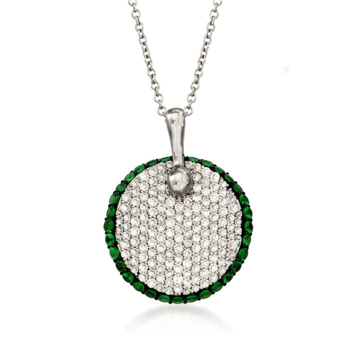 "Simon G. .65 Carat Total Weight Pave Diamond and .48 Tsavorite Necklace in 18-Karat White Gold. 17"", , default"