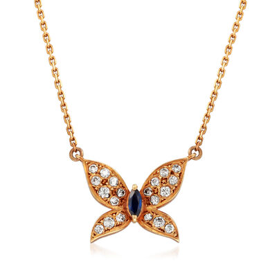 C. 1980 Vintage Tasaki .38 ct. t.w. Diamond and .15 Carat Sapphire Butterfly Necklace in 18kt Rose Gold, , default