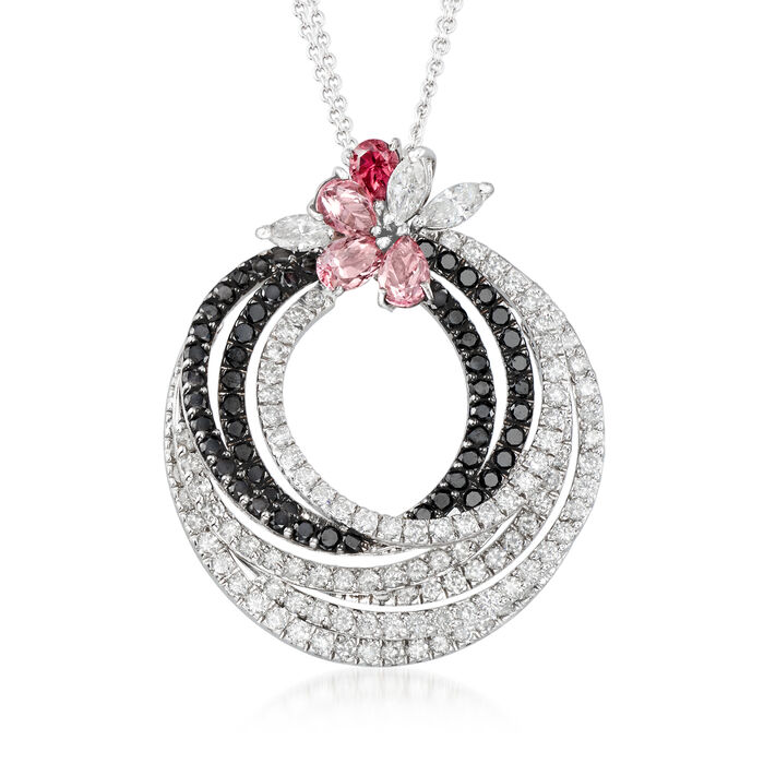 C. 2000 Vintage Stefan Hafner 5.01 ct. t.w. Black and White Diamond and 2.45 ct. t.w. Pink Tourmaline Swirl Necklace in 18kt White Gold
