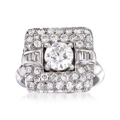 C. 1940 Vintage 1.76 ct. t.w. Diamond Ring in Platinum