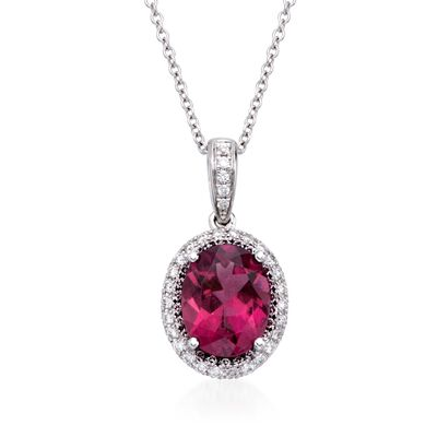 Simon G. 1.84 Carat Rubellite and .34 ct. t.w. Diamond Pendant Necklace in 18kt White Gold, , default