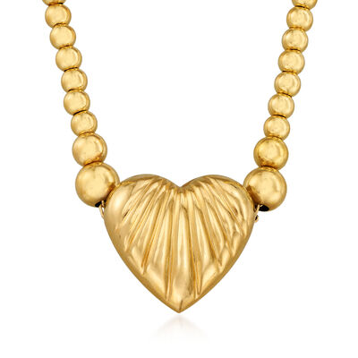 C. 1990 Vintage 14kt Yellow Gold Heart Beaded Necklace, , default