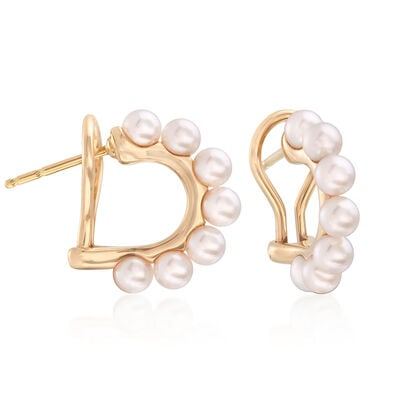 Mikimoto 3.5mm A+ Akoya Pearl Hoop Earrings in 18kt Yellow Gold