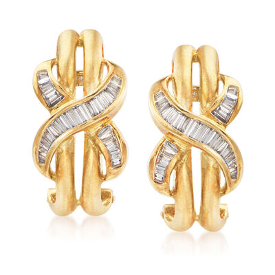 C. 1980 Vintage .75 ct. t.w. Diamond Infinity Symbol Earrings in 18kt Yellow Gold