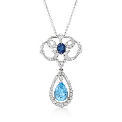 C. 1990 Vintage 2.10 Carat Sky Blue Topaz and .60 Carat Sapphire Pendant Necklace with .75 ct. t.w. Diamonds in 14kt and 18kt White Gold