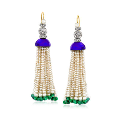 C. 1960 Vintage Cultured Pearl and 4.20 ct. t.w. Emerald Bead Drop Earrings with 1.15 ct. t.w. Diamonds and Blue Enamel in 14kt Yellow Gold