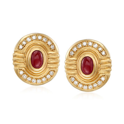 C. 1980 Vintage 1.70 ct. t.w. Ruby and .50 ct. t.w. Diamond Earrings in 14kt Yellow Gold, , default