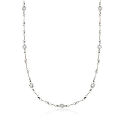 Roberto Coin .28 ct. t.w. Diamond Twist Link Necklace in 18kt White Gold