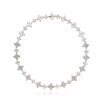 """Roberto Coin """"Princess Flower"""" 6.65 ct. t.w. Diamond Flower Necklace in 18kt White Gold. 18"""""""