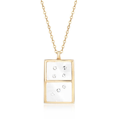 C. 1990 Vintage .10 ct. t.w. Diamond Domino Pendant Necklace in 14kt Yellow Gold, , default