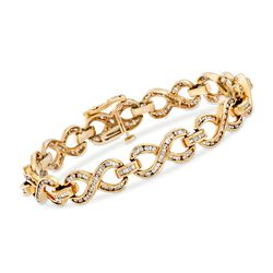 C. 1990 Vintage 3.00 ct. t.w. Diamond Infinity Bracelet in 14kt Yellow Gold, , default