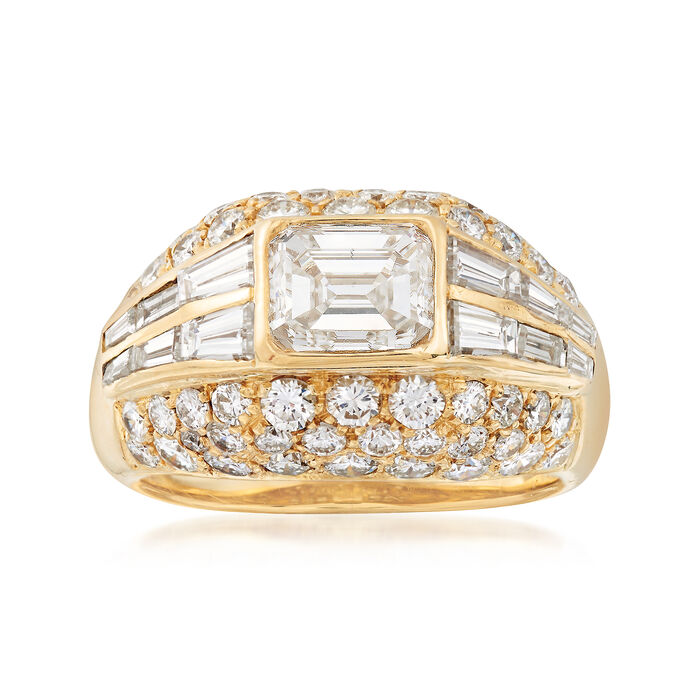 C. 1990 Vintage 3.83 ct. t.w. Diamond Dome Ring in 18kt Yellow Gold