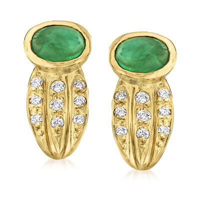 C. 1990 Vintage 1.03 ct. t.w. Emerald Clip-On Earrings with .16 ct. t.w. Diamonds in 18kt Yellow Gold