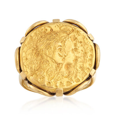 C. 1980 Vintage Piaget Ladyface Ring in 18kt and 22kt Yellow Gold