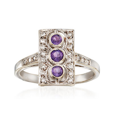 C. 1990 Vintage .20 ct. t.w. Amethyst and .12 ct. t.w. Diamond Ring in 18kt White Gold, , default