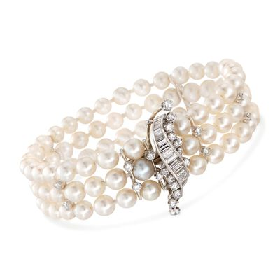 C. 1950 Vintage 2.35 ct. t.w. Diamond and 5.5-6mm Cultured Pearl Bracelet in 14kt White Gold, , default