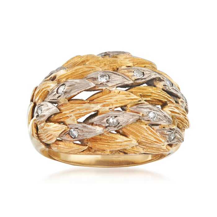 C. 1970 Vintage .25 ct. t.w. Diamond Leaves Ring in 10kt Two-Tone Gold