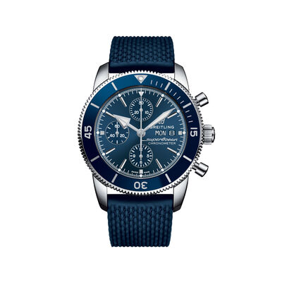 Breitling Superocean Heritage II Chronograph Men's 44mm Stainless Steel Watch - Blue Dial and Rubber Strap, , default