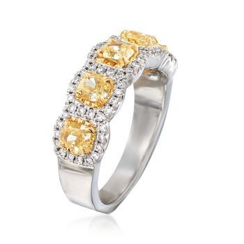 Henri Daussi 1.60 Carat Total Weight Fancy Yellow and White Diamond Band in 18-Karat White Gold. Size 6.5, , default