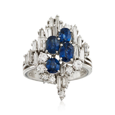 C. 1970 Vintage 2.00 ct. t.w. Sapphire and .50 ct. t.w. Diamond Ring in 18kt White Gold, , default
