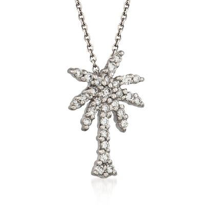 "Roberto Coin ""Tiny Treasures"" .17 ct. t.w. Diamond Palm Tree Necklace in 18kt White Gold"