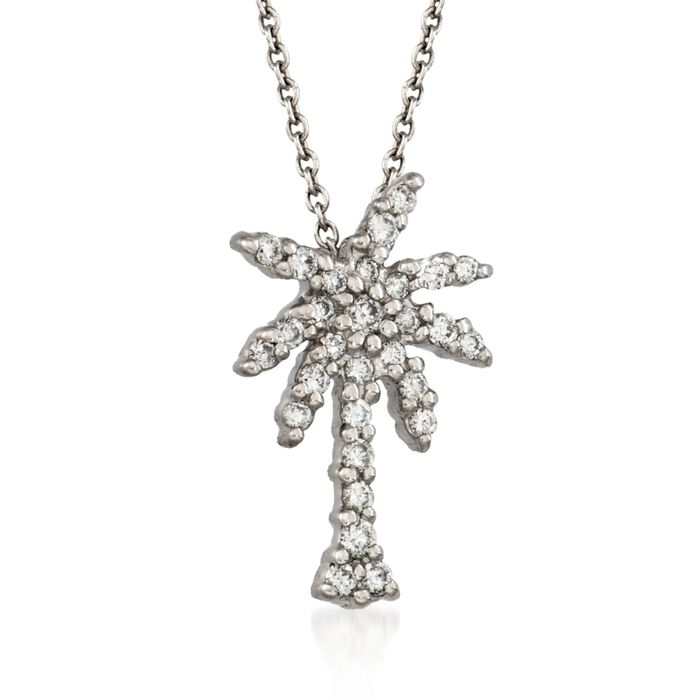 """Roberto Coin """"Tiny Treasures"""" .17 ct. t.w. Diamond Palm Tree Necklace in 18kt White Gold"""