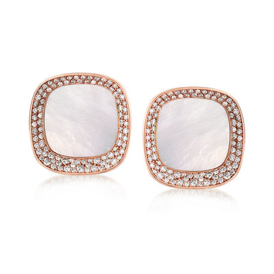 "Roberto Coin ""Carnaby Street"" Mother-Of-Pearl and 1.33 ct. t.w. Diamond Earrings in 18kt Rose Gold, , default"