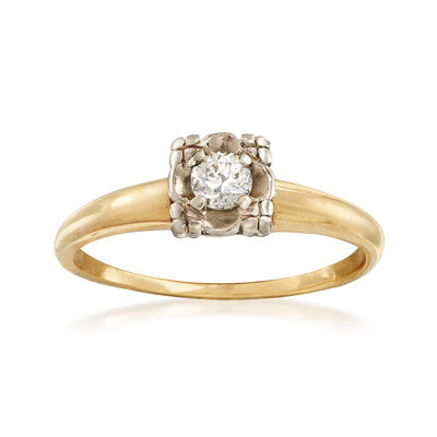 C. 1970 Vintage .15 Carat Diamond Ring in 14kt Yellow Gold, , default