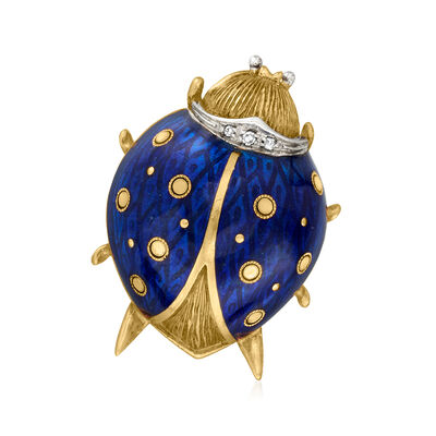 C. 1970 Vintage 18kt Yellow Gold Ladybug Pin with Blue Enamel and Diamond Accents