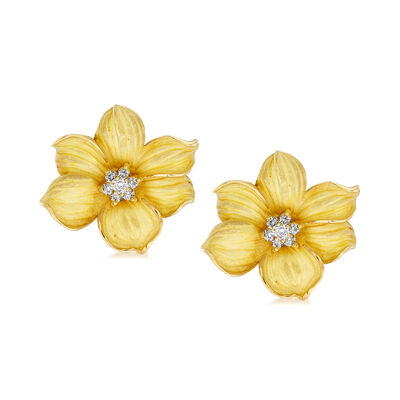 C. 1980 Vintage .45 ct. t.w. Diamond Center Flower Earrings in 18kt Yellow Gold