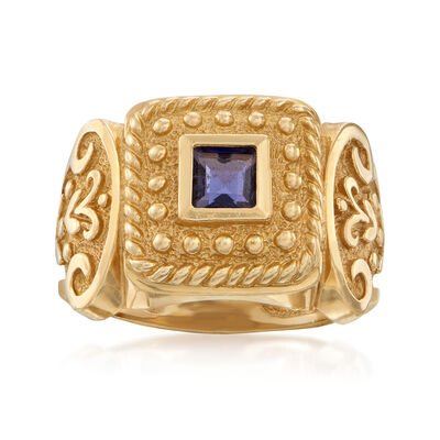 C. 1980 Vintage .30 Carat Iolite Beaded Ring in 14kt Yellow Gold, , default