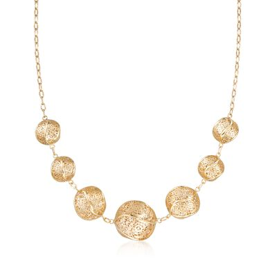Italian 14kt Yellow Gold Twisted Lace Ball Necklace, , default