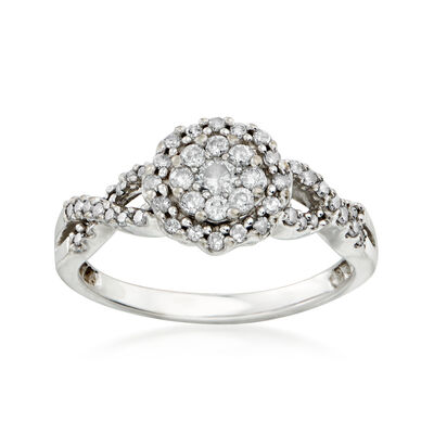 C. 1990 Vintage .50 ct. t.w. Diamond Cluster Ring in 10kt White Gold, , default