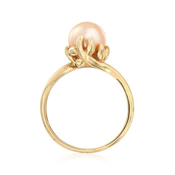 C. 1980 Vintage 8mm Cultured Pearl Ring in 10kt Yellow Gold. Size 7.75, , default