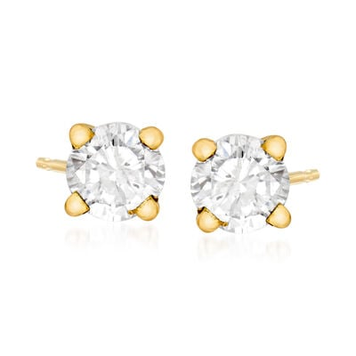 C. 1990 Vintage .70 ct. t.w. Diamond Stud Earrings in 14kt Yellow Gold, , default