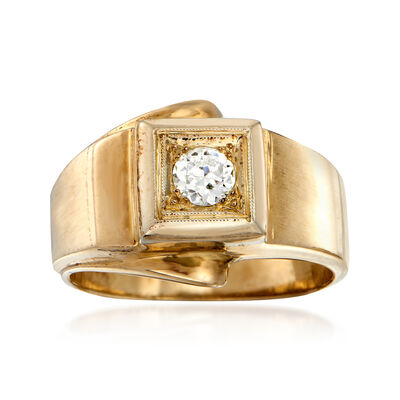 C. 1960 Vintage Men's .30 Carat Diamond Ring in 14kt Yellow Gold, , default