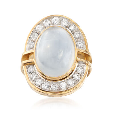 C. 1990 Vintage Moonstone Cabochon and 1.25 ct. t.w. Diamond Ring in 18kt Yellow Gold