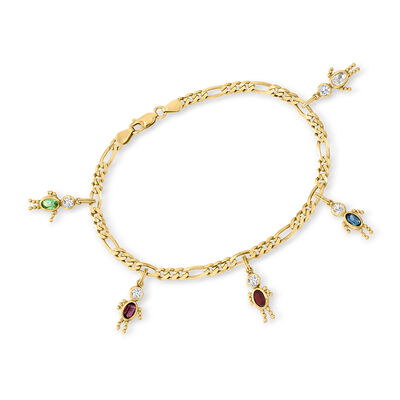 C. 1990 Vintage 3.00 ct. t.w. Multicolored CZ People Charm Bracelet in 14kt Yellow Gold