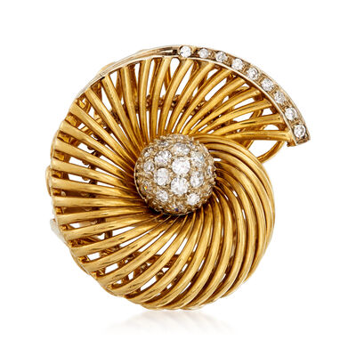 C. 1970 Vintage .35 ct. t.w. Diamond Swirl Cocktail Ring in 18kt Yellow Gold, , default