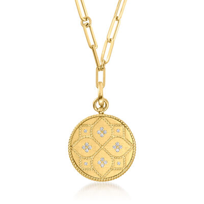 "Roberto Coin ""Venetian Princess"" .25 ct. t.w. Diamond Necklace in 18kt Yellow Gold"