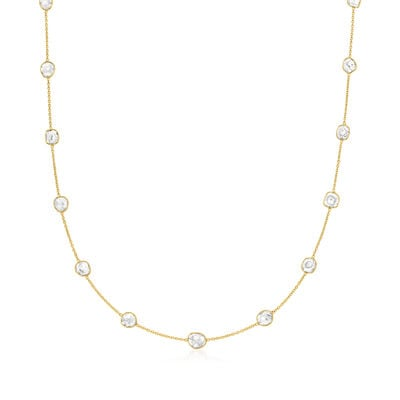 C. 1990 Vintage 1.00 ct. t.w. Diamond Slice Station Necklace in 18kt Yellow Gold