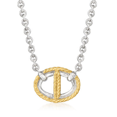"""Judith Ripka """"Vienna"""" Sterling Silver and 18kt Yellow Gold Reversible Link Necklace"""