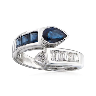 C. 1990 Vintage 1.10 ct. t.w. Sapphire and .47 ct. t.w. Diamond Bypass Ring in 18kt White Gold, , default