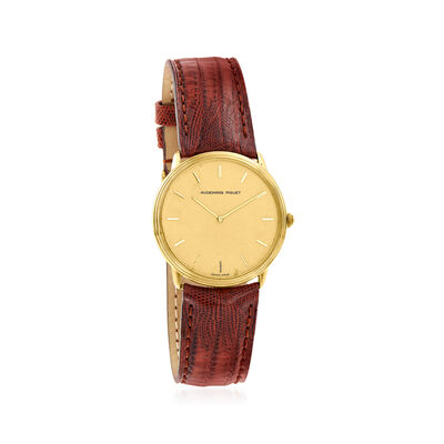 C. 1980 Vintage Audemars Piguet 18kt Yellow Gold Watch with Brown Leather Strap