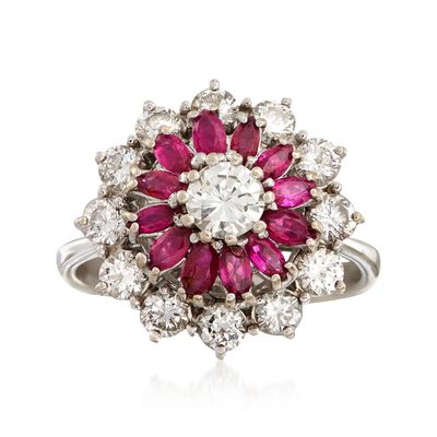 C. 1970 Vintage .85 ct. t.w. Ruby and 1.30 ct. t.w. Diamond Cluster Ring in 18kt White Gold, , default