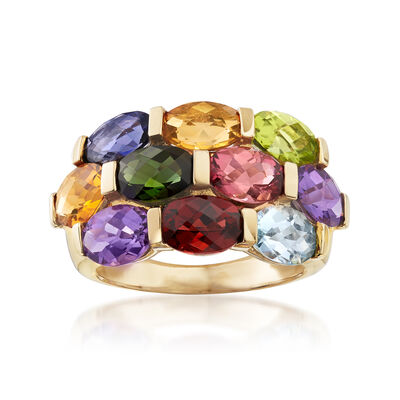 C. 1990 Vintage 4.55 ct. t.w. Multi-Gemstone Ring in 14kt Yellow Gold, , default